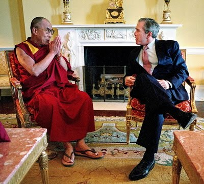 The Dalai Lama wears flip-flops everywhere, even when meeting with heads of state.