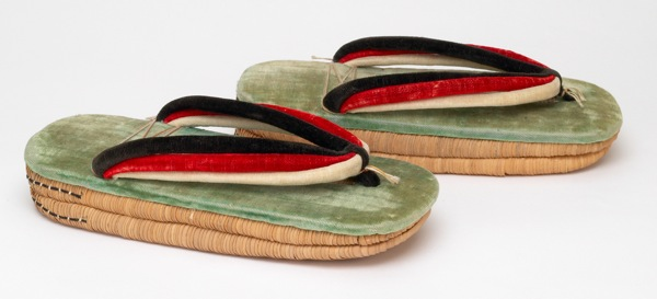 A late-19th century pair of Japanese zori, with velvet straps and double rice-straw soles.