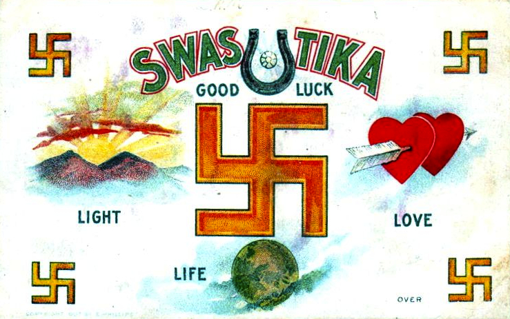 "9. As explained on the back of this pre-Nazi good-luck postcard from around 1907, the swastika ""forms a combination of four 'L's' standing for Luck, Light, Love and Life."""