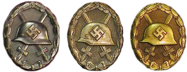 5. These German World War II badges were awarded to soldiers, or their families, for being wounded or killed in battle.