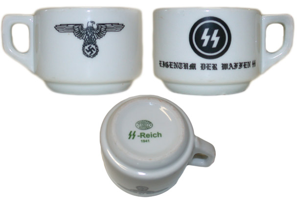 7. The front, back, and bottom of a porcelain mug typical of ones used by SS officers in their mess halls at concentration camps, field camps, city offices, and training camps.