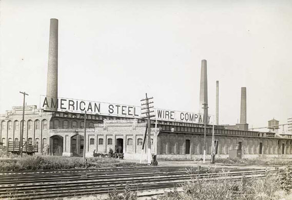 American Steel and Wire in DeKalb, Illinois, at Tenth Street looking northeast, DeKalb, circa 1901. Photo from Sycamore Public Library.