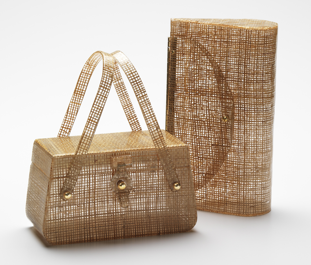07448ddc5ba6c Basket-weave fabric was a favorite Lucite laminate. The bag on the left is