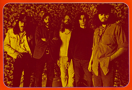 The Big Five poster artists of the San Francisco scene, circa 1967. From left to right, Alton Kelley, Victor Moscoso, Rick Griffin, Wes Wilson, Stanley Mouse.