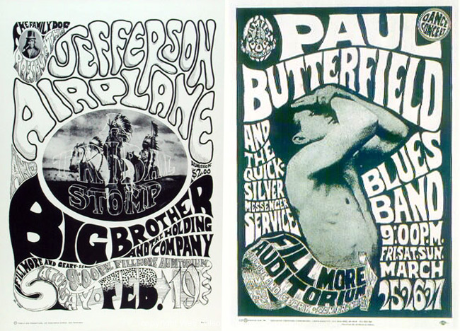 Wilson produced the first few posters for the Family Dog (#1 on the left, #3 on the right) for about $60 each, in print runs of about 300. Today, surviving copies sell for four or five figures.