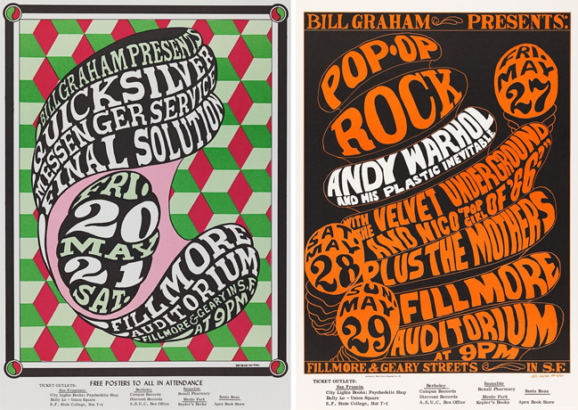 Wilson's early Fillmore posters used type and color to create mass and shapes.