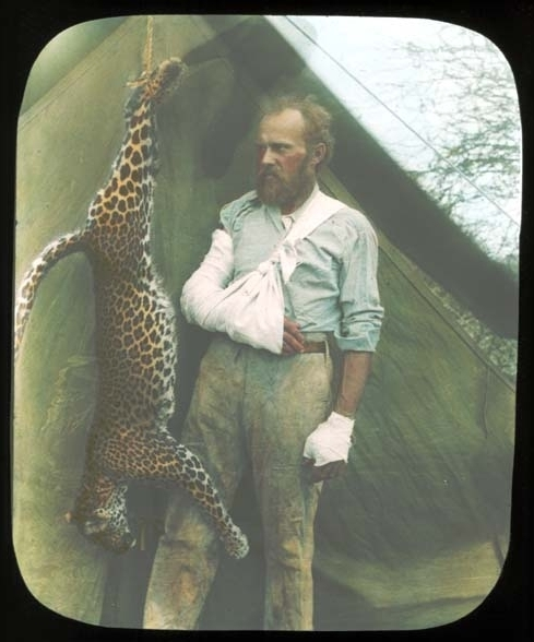 "Carl Akeley, the ""father of modern taxidermy,"" and the leopard he killed with his bare hands. Image via the American Museum of Natural History in New York City."