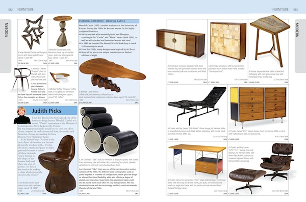 "A page on Mid-Century Modern furniture from ""Miller's Antiques Handbook & Price Guide 2012-2013,"" now on sale."