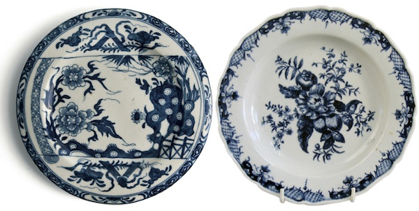 Miller bought both of these 18th century Royal Worcester plates at a junk store for pennies in the 1970s. The one on the right is a first period transfer-print in a common fence pattern called Pine Cone, and only worth £20-30 now. The Chinese-style piece on the left, however, is a rare plate, inspired by a Bow original, now worth £1,000.
