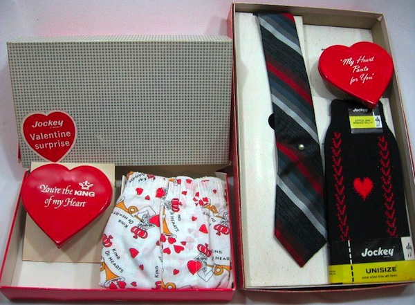 Vintage Jockey gift boxes with windup Fishlove hearts for Valentine's Day. Women loved to give these to their favorite men, a subtle way to make sure they had fresh shorts and socks, too.