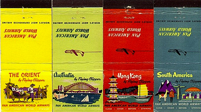 "Pan Am ""destination"" matchbooks from the 1950s."