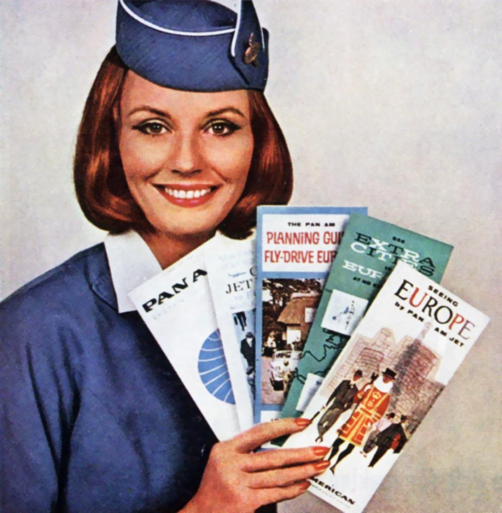 Examples of Pan Am paper in Kelly Cusack's collection include brochures, timetables, and advertising photos of flight attendants.