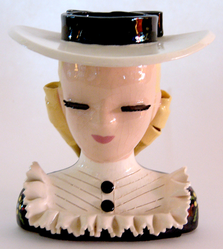"""Mary Lou"" is a classic Betty Lou Nichols head vase, with thick eyelashes and lots of breakable edges."