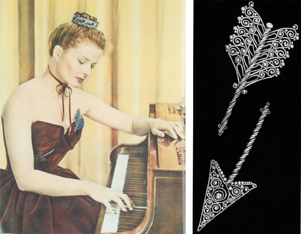 "Katharine Hepburn wore this Joseff dual brooch, meant to look like an arrow going through her heart-shaped dress bodice, in 1947's ""Sea of Grass."" The brooch set is one of Tina Joseff's favorite pieces from her company's collection."