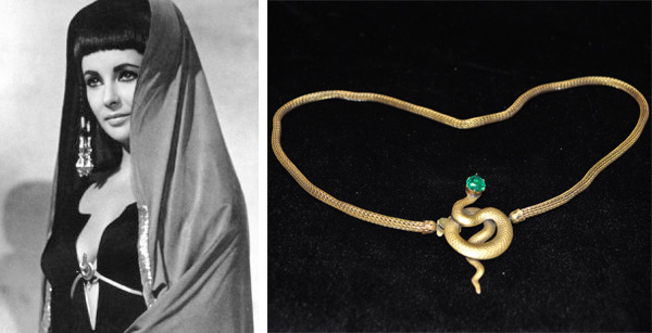 "Elizabeth Taylor insisted that this Joseff of Hollwood snake belt, which she wore in 1963's ""Cleopatra,"" had been measured wrong. It now lives in the glass display with other Joseff treasures."