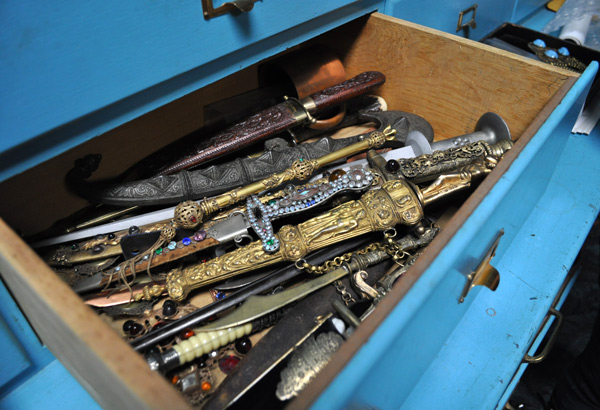 Open one of the turquoise blue drawers at the Joseff studio, and you might find bejeweled daggers.