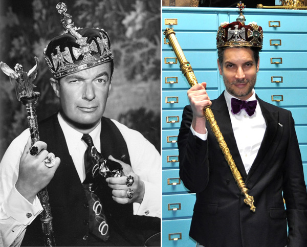 "Eugene Joseff dons the crown and scepter worn by Ronald Colman in ""The Prisoner of Zenda"" in 1937. Seventy-some years later, Decades Inc. co-owner Cameron Silver poses in the same crown."