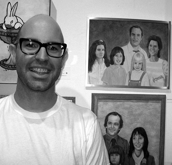 Kirk Demarias as an adult, pictured with two of his Hollywood family portraits in Gallery 1988.