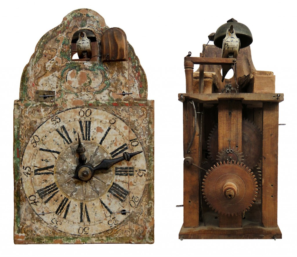 "Top, an unusual ""snap"" clock featuring a character with a movable jaw and eyes, circa 1820. Above, an early example of a wood-wheel paper-shield cuckoo produced around 1780, both fully assembled (left) and with its face removed (right)."