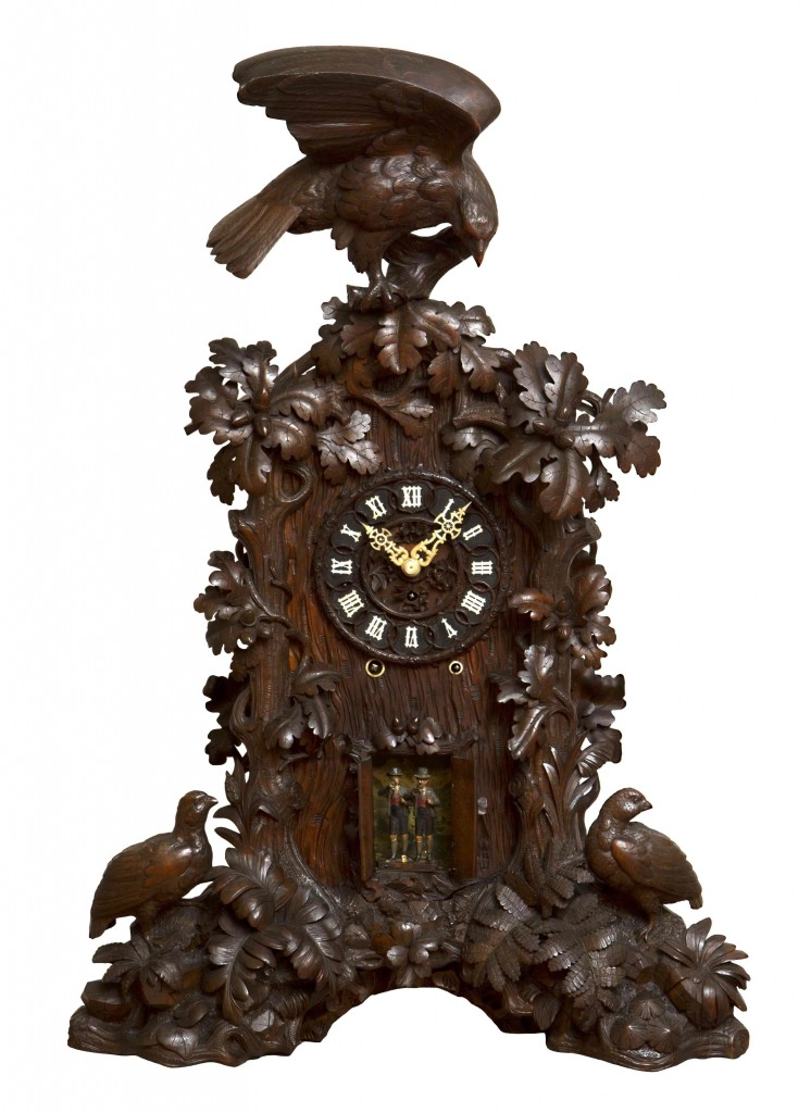 One of Miller's favorite clocks is an ornate eight-horn trumpeter cuckoo made by Emilian Wehrle & Co., circa 1880, in a custom-carved walnut case.