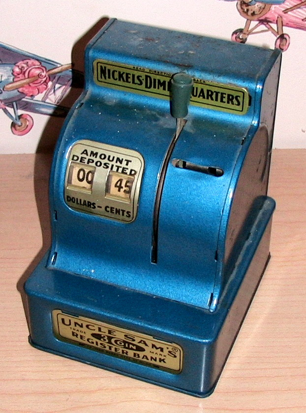 Jonas picked this antique mechanical bank, which takes your nickels, dimes, and quarters, and adds them up.