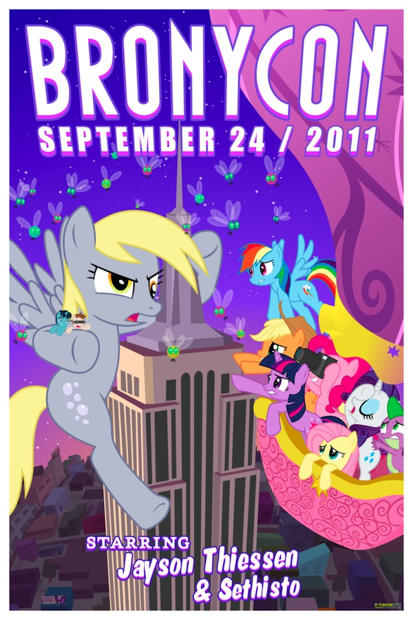 A poster for last year's BronyCon, featuring Shaun from Equestria Daily. It was designed by Timon1771, an animator at Bronytoons.com.