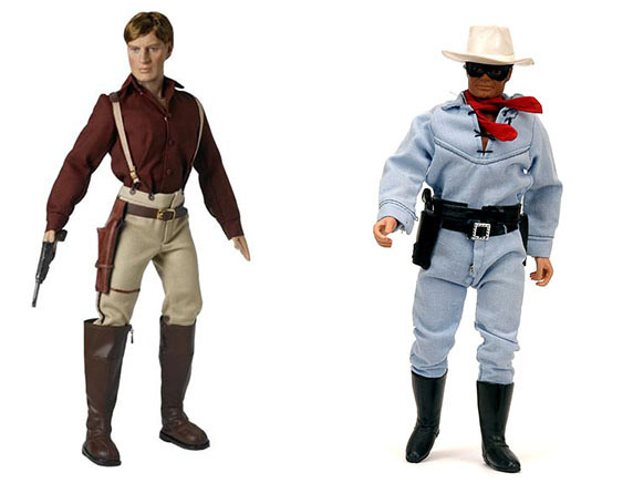 "Left, a Malcolm Reynolds action figure made for the ""Firefly"" series and right, a Lone Ranger action figure from the 1970s."