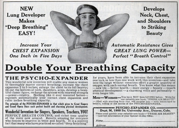 "A 1924 ad claims this device will ""enlarge the chest to its full beauty."" Via ModernMechanix.com."