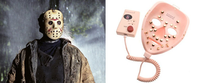 """The Rejuvenique skin-stimulating mask, at right, could double as a Halloween costume if you wanted to be Jason Vroohees from the classic horror series, """"Friday the 13th."""""""