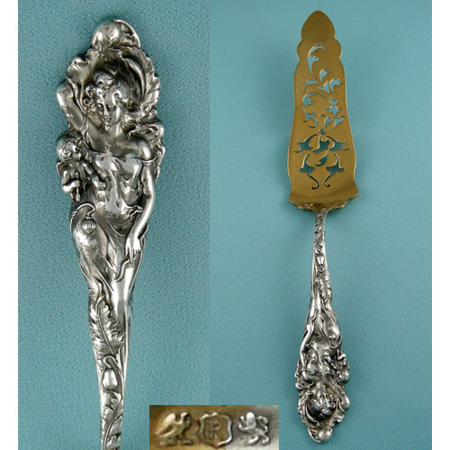 Reed & Barton's Love Disarmed pattern was first introduced in 1899. Seen here on a vermeil-tipped sterling silver petifore server. Via Léonce Antiques.