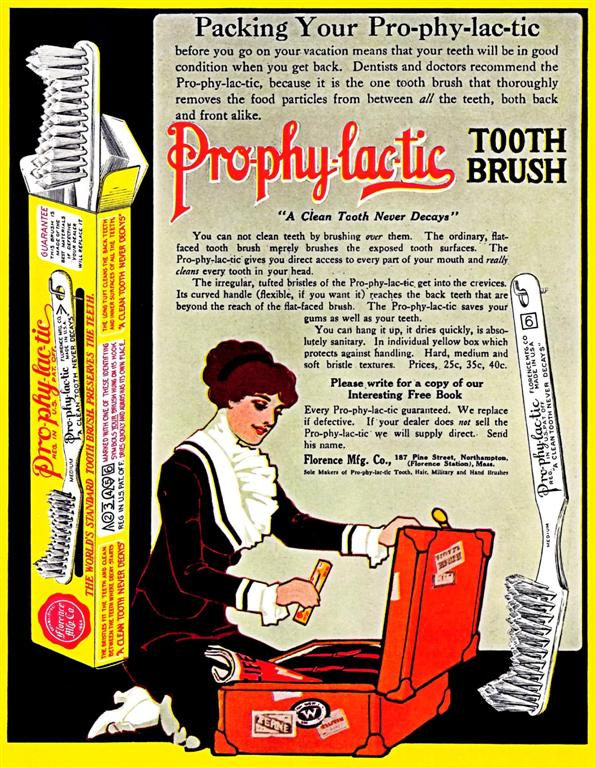Packing Your Prophylactic: before the term became exclusively used for condoms, toothbrushes were often advertised as prophylactics.