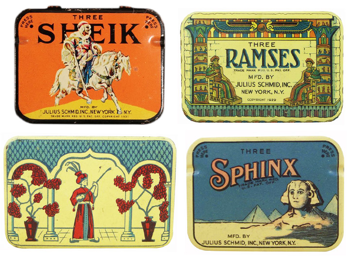 Four condom tins from the '30s highlight fantasies of the Mid-East with names like Sheik, Ramses, and Sphinx.