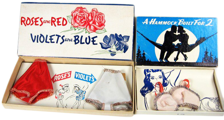 """""""Girlie"""" gag boxes often had something titillating inside, like tiny pieces of lady's lingerie."""