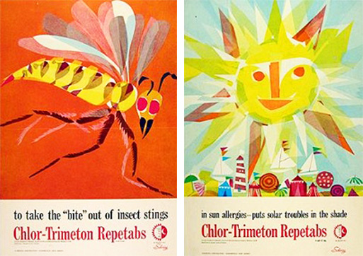 Eric Carle did a series of collages for his Chlor-Trimeton allergy tab ads. One of these caught the attention of author Bill Martin, Jr. Images used with permission from the Eric Carle Studio.