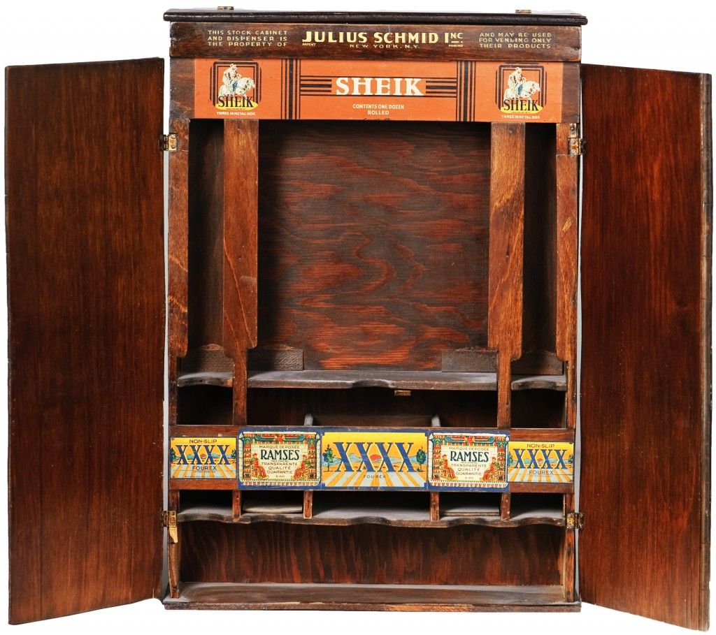 This drugstore cabinet produced by Julius Schmid has privacy doors that could completely conceal its products. Courtesy the Museum of Sex.