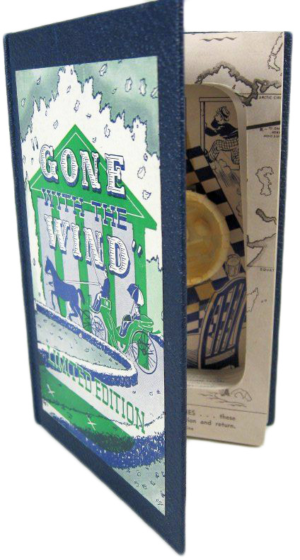 "When ""Gone With the Wind"" made it big, the name was adopted for ""elimination"" jokes. This gag box is made from a book."