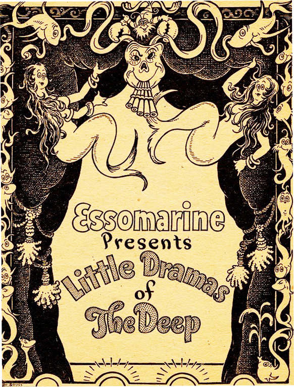 """To promote Essomarine motor oil at the 1938 National Motor Boat Show, Dr. Seuss wrote a six-act mermaid-filled play called """"Little Dramas of the Deep"""" and designed the scenery.From the UCSD Mandeville Special Collections Library."""