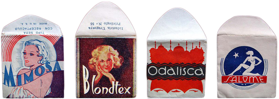 Early paper condom wrappers used vague, exoticized designs used to convey  their contents.