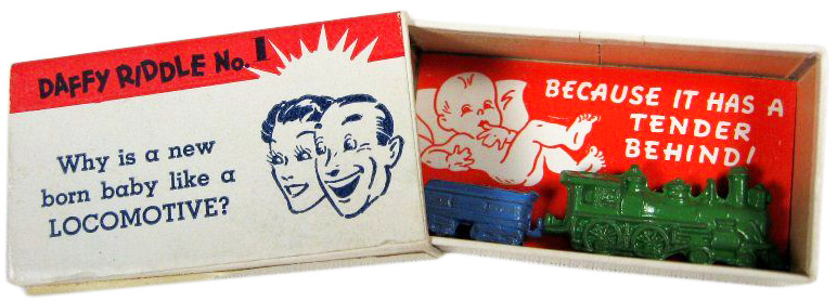 This early Fishlove gag box has a riddle on the front.