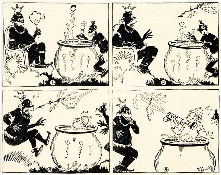 This 1930s Flit ad looks uncomfortably similar to minstrel-show blackface. Just a decade later, Dr. Seuss was decrying racism that prevented black Americans from participating in the war effort.
