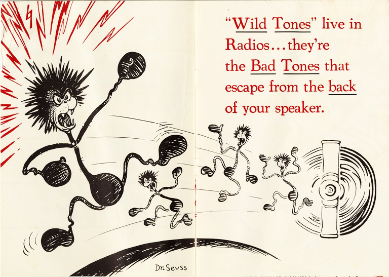 """This advertising pamphlet for Stromberg-Carlson radios, titled """"What Is a Wild Tone?"""", bears a striking resemblance to Dr. Seuss's storybooks.From the UCSD Mandeville Special Collections Library."""