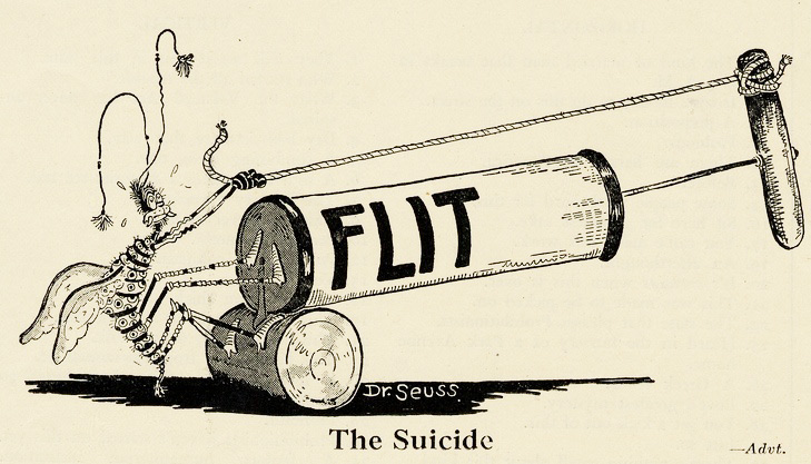 In his Flit bug spray ads, Dr. Seuss found humor in dark topics, like suicide. From the UCSD Mandeville Special Collections Library.