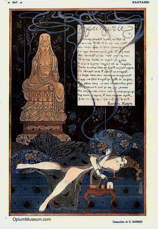 "A highly romanticized illustration of a woman smoking opium, by George Barbier. From the French magazine ""Fantasio,"" 1915."