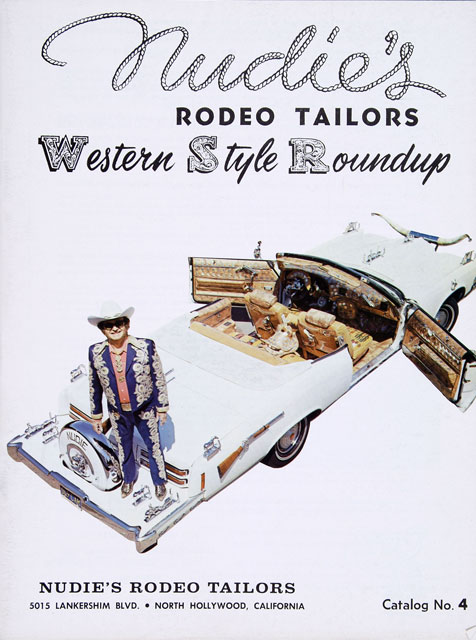 The cover of a Nudie's Rodeo Tailors catalog from the 1960s shows Nudie Cohn standing on the rear of a customized car.
