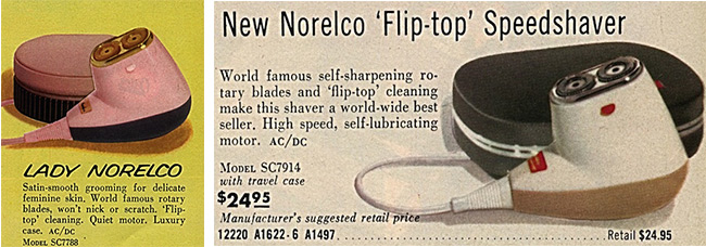The Lady Norelco from 1962 was the same as the regular Norelco, except it was pink. Courtesy of Lynn Peril.