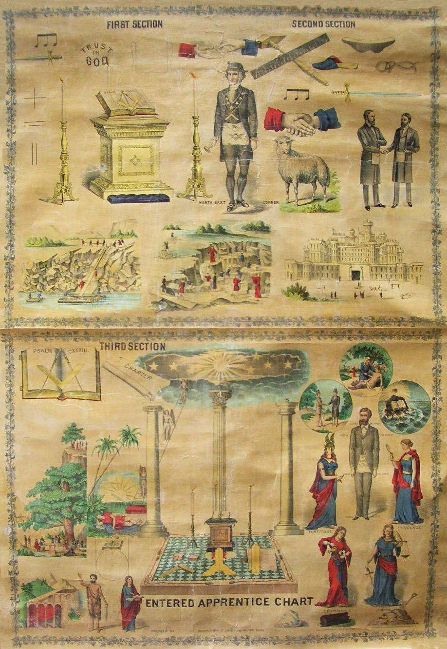 "A piece of what is known as a ""Master's Carpet,"" a basic emblematical chart for the instruction of Freemasonry. Scrolls such as this were produced during the 19th century as teaching aides for the Worshipful Master. Via Phoenixmasonry.org"