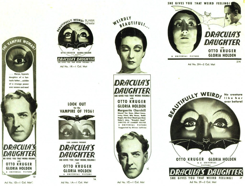 "A pressbook for ""Dracula's Daughter"" from 1936 shows the various styles of advertising displays offered."