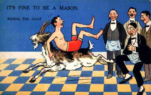 "Postcards perpetuated the popular Masonic joke about initiates ""riding the goat,"" something that didn't really happen. Via Phoenixmasonry.org."