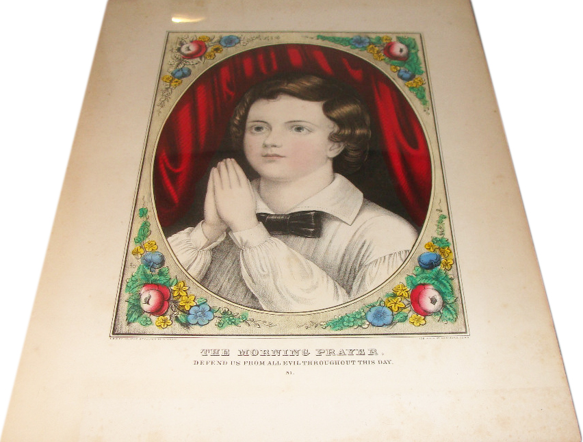 "This 1800s hand-tinted print of a child praying was listed as haunted simply because it ""looks eerie."""
