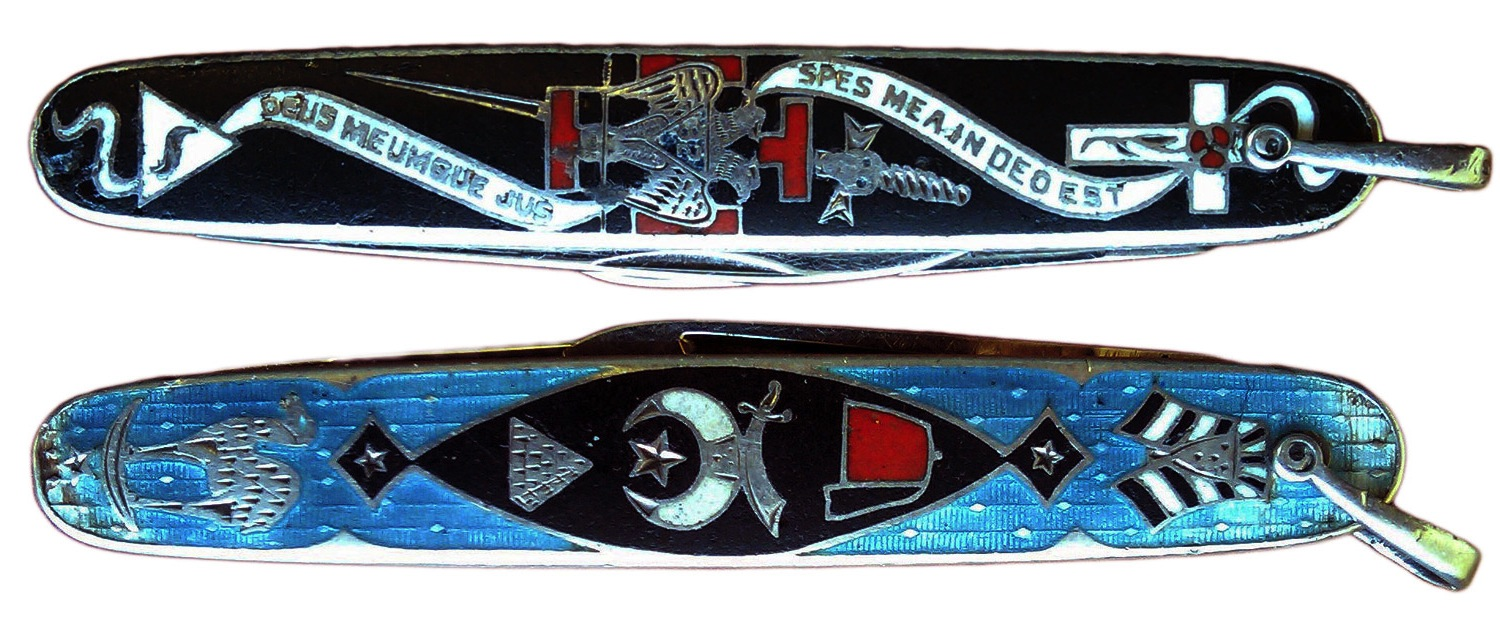 "A pocketknife with 32nd degree Scottish Rite symbols on one side and Shriner symbols on the other. The degree's Latin motto ""Spes mea in Deo est"" means ""My hope is in God."" Via Phoenixmasonry.org."
